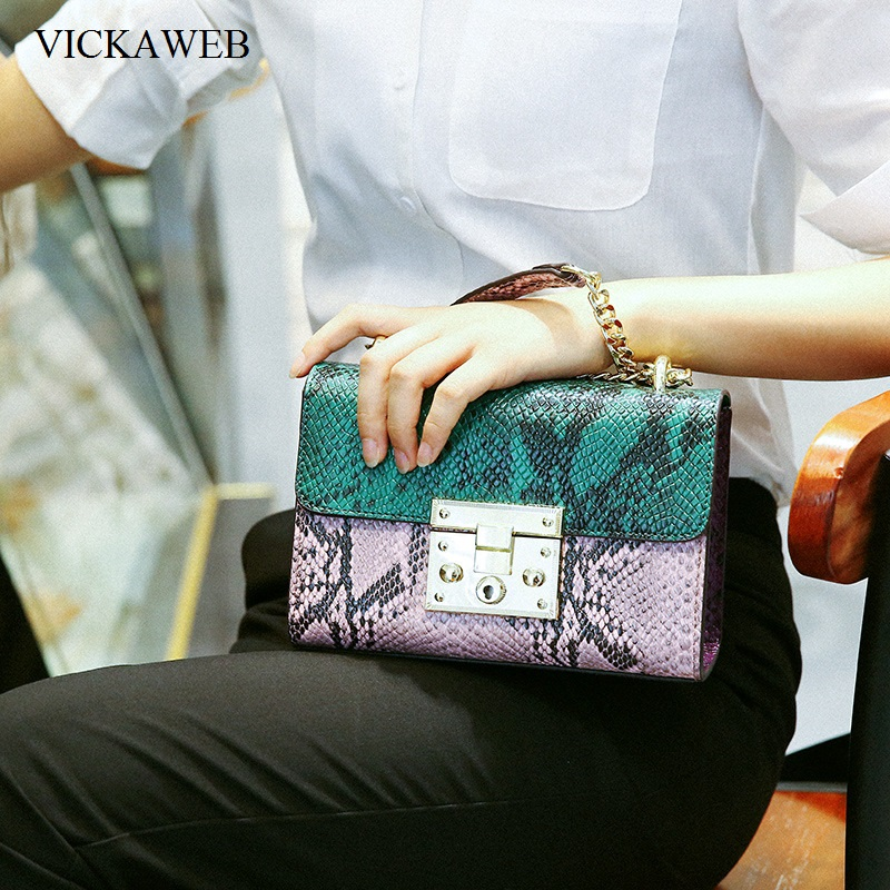 VICKAWEB Brand Women Messenger Bags Small Serpentine Chain Genuine Leather Bag Fashion Crossbody Bags for Women 2017 Female Bag vm fashion kiss genuine leather serpentine chain small messenger bags for women high quality mini shoulder bags falp bag lady