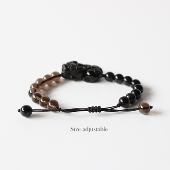 Wholesale Chinese Traditional Pixiu Dragon Black Obsidian With Smoky crystal Beads Mens Bracelet Lucky Jewelry Adjustable Size 1