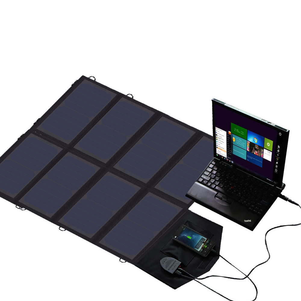 Outdoor Portable 12V 18V 40W USB Solar Panel Power Bank Camping Folding Universal Solar Charger for