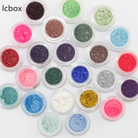 LCBOX Free Shipping 50 Mixed Colors Glitter Eyeshadow Powder Pigment Mineral Spangle Waterproof Long Lasting Makeup
