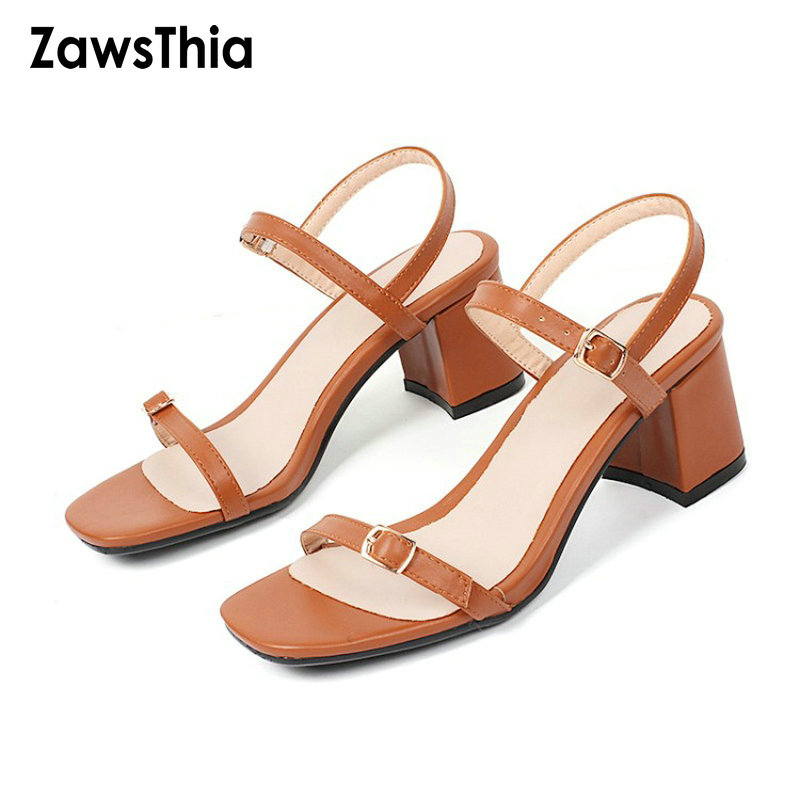 ZawsThia PU solid color girl pumps open toe sexy woman summer shoes block med heels back strap women sandals slingback size 43 pu closed toe color block slingback shoes