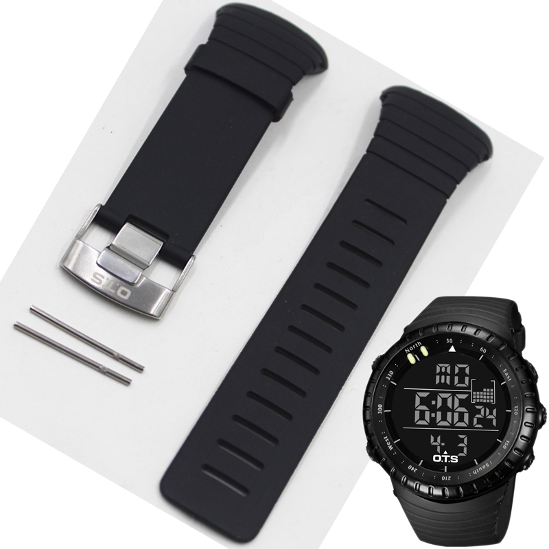 Professional Waterproof TPU Silicone Rubber Core Watch Spare Strap 210MM Length Band 24MM Width Repair Adjustable Replacement
