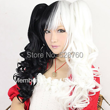 Lolita Curly Wig Inspired by Black and White Mixed Color Ponytail 70cm Punk   Free shipping