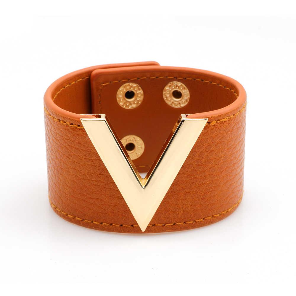 6 kolorów moda Metal V szeroki skórzany kobiet bransoletka wysokiej jakościowy duży bransoletki bransoletki Wrap Charm bransoletka pani biżuteria