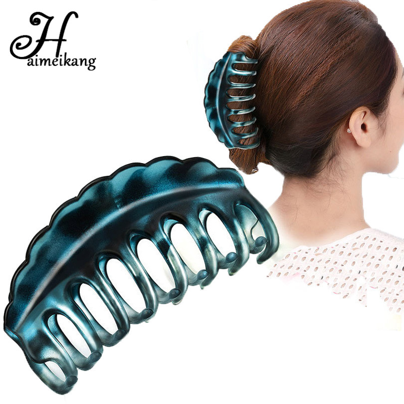 Haimeikang Hot Sale Plastic Hairpins Hair Clip for Women Large Crab Clip Hair Claws Headwear Women Girl Hair Clips Accessories  haimeikang large size plastic hairpins candy color hair clip shiny crab hair claws for women girl hair clips hair accessories