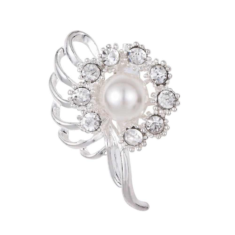 ... Gold Color Simulated Pearl Flower Brooches Rhinestone Scarf Buckles  Corsage Exquisite Pins For Woman ... 7c01a96e13c9