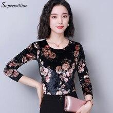 Вельветовые Блузки винтажные женские топы осенние женские рубашки с длинным рукавом велюровые рубашки размера плюс офисные женские рубашки Blusas femininas 4XL