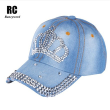 цены [Rancyword] Diamond embroidery Baseball cap for women Snapback caps Lady Rhinestones Crown hats Washed cowboy caps women  RC1061
