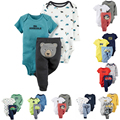New 2017 Baby Boy soft Cotton 3 Pieces  Long Short Sleeve Bodysuit and Pants set Body Suit Infant Bebes Clothing set