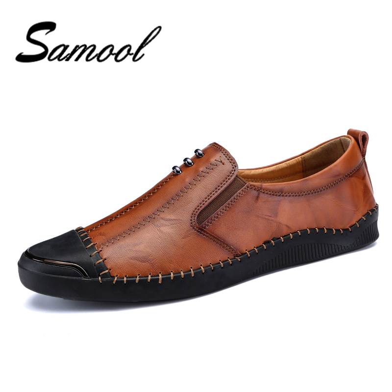 Handmade Soft Leather Mens Shoes Casual Men Loafers With Anti-kick Toe Fashion Breathable Driving Shoes Slip On Moccasins QX5 genuine leather men casual shoes summer loafers breathable soft driving men s handmade chaussure homme net surface party loafers