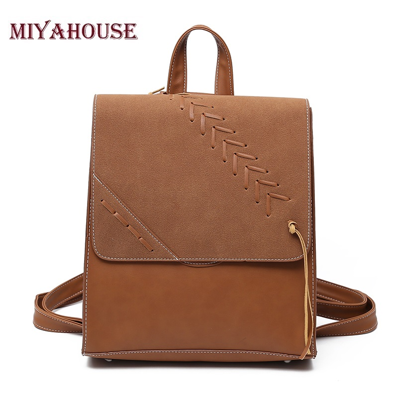 Miyahouse Women Backpacks Fashion PU Leather Backpack Female Shoulder Bag Small Backpack School Bags for Teenager Girls Bag jxsltc womens pu leather rivet backpack female backpack for adolescent girl casual small backpacks women pouch fashion lady bag