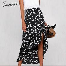 Simplee Animal print women skirt Asymmetrical ruffled summer style ladies skirts High waist A line female bottom midi skirts