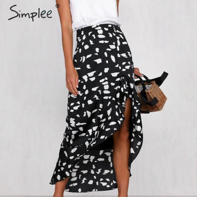 Simplee Animal print women skirt Asymmetrical ruffled summer style ladies skirts High waist A line female bottom midi skirts