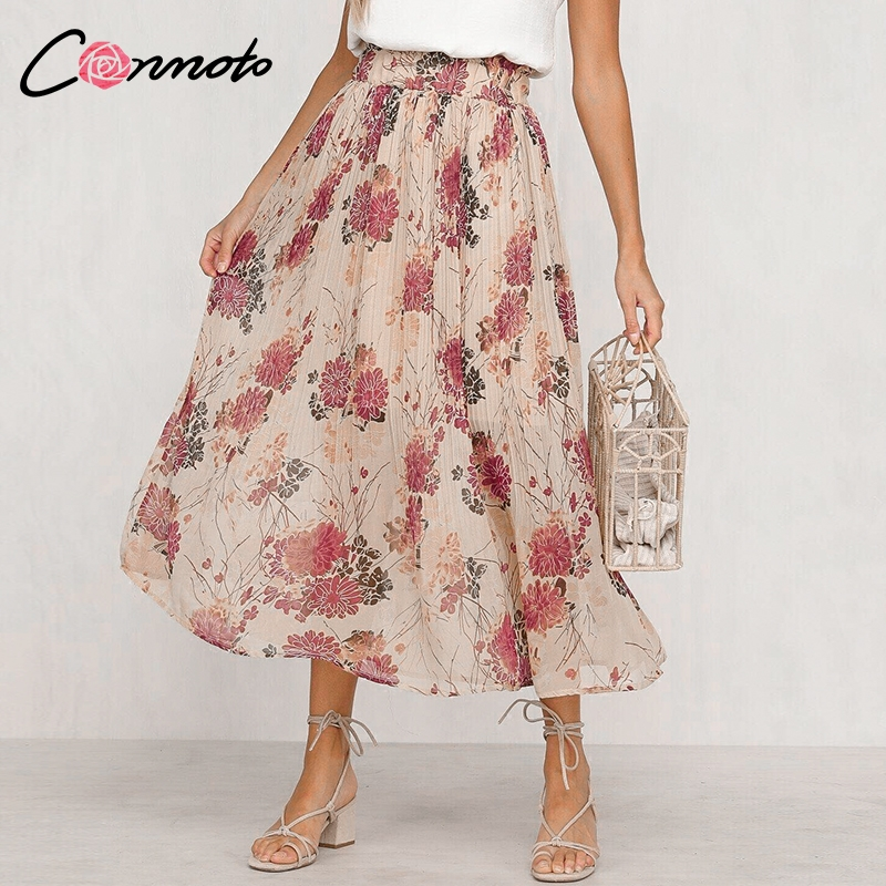 Conmoto Ruffles Floral Print Chiffon Women Skirts High Waist Bohemian Long Pleated Skirts Mujer Casual Retro Feminino Skirt