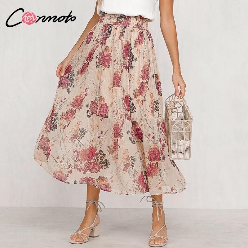 Conmoto Ruffles Floral Print Chiffon Women Skirts High Waist Bohemian Long Pleated Skirts Mujer Casual Retro Feminino Skirt
