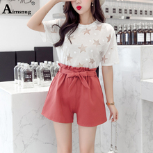 Aimsnug Black Vintage Slant Pocket High Waist Loose Shorts Elastic band Belt New Summer Casual Streetwear Solid Women Shorts