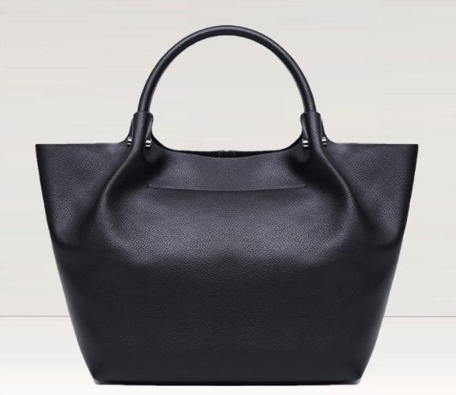 Genuine Leather Scrub Tote Bag Rivet Zipper Fashion Female Messenger Bag Vintage Simple Lady Shoulder Bag Hot Girl Handbag C078