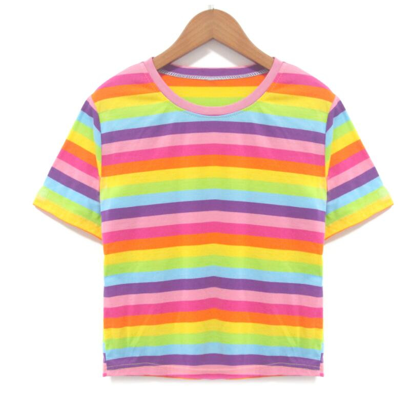 European and American New Style Summer Female Fashion Rainbow Stripe Short T-shirt Women Short Sleeve T-shirts Top