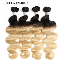Rebecca Remy Hair Extensions Ombre Blonde Human Hair Bundles 4PC Brazilian Body Wave Bundles T1b 613 Salon Hair Weave 400g/lot