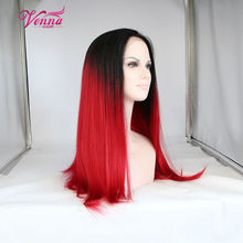 Long red wig layered hairstyle root dark red wig synthetic red lace front wig black red ombre synthetic full lace wigs