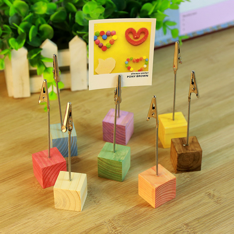 Wood Cube Picture Stand Holder Clip School Office Supplies Tools Desk Accessories Organizer Joy Corner