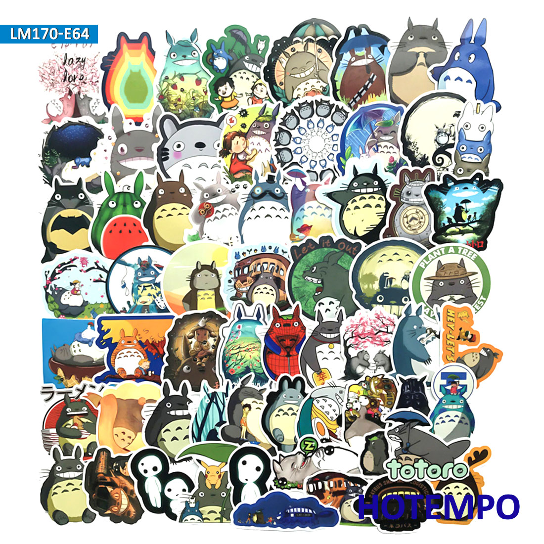 60pcs Pack Anime Movie My Neighbor Totoro Cute Stationery Cartoon Stickers For Mobile Phone Laptop Luggage Skateboard Stickers