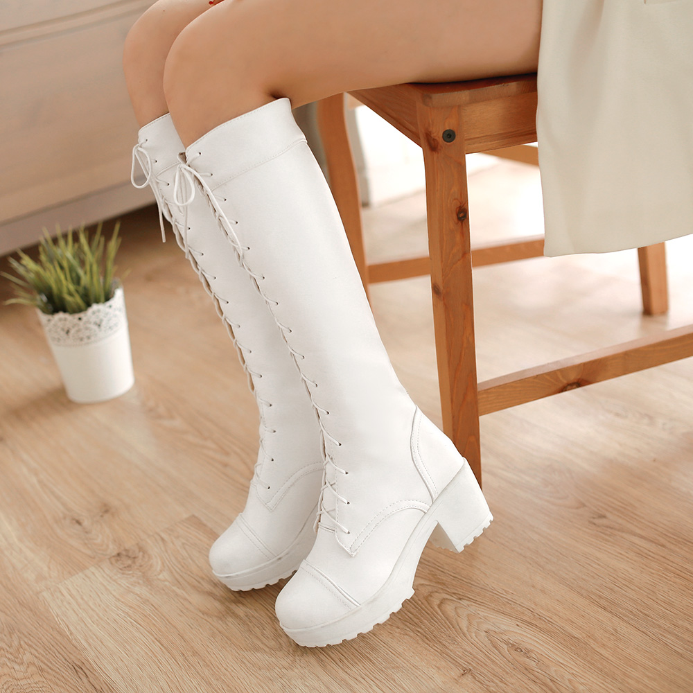 2016 font b Women s b font Fashion Lace Up Knee High font b Boots b