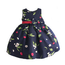 baby girls princess dress cherry print wedding party dresses children clothes robe fille vetement enfant fille 2-6T