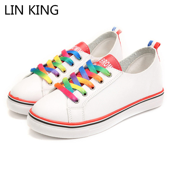 LIN KING New Fashion Women Casual Shoes Thick Sole Lace-up Retro Mixed Color Low Top Canvas Shoes Massage Outdoor Ankle Shoes