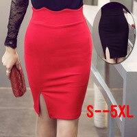 2015 Summer Vintage Fashion Pencil Skirt Above Knee Women Elastic Slit Skirt High Waist Black Red