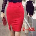 Primavera Verano de Las Mujeres del Lápiz Faldas Para Mujer Elástico de Hendidura Falda Corta alta Cintura Más El Tamaño 4XL 5XL Saias Falda Negro Rojo Femininas
