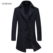 New arrival style men high-end boutique business casual woolen overcoat men's single button solid slim trench jacket size M-3XL
