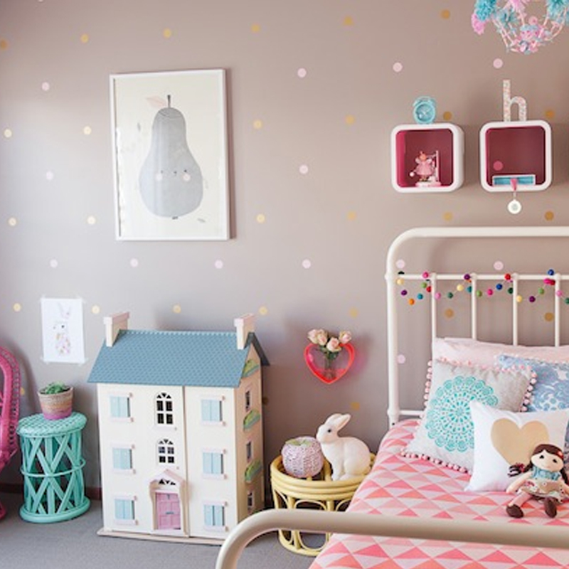 80pieces/package Polka Dot Wall Decals Vinyl Sticker Long Life Apartment Safe Kids Wall Art Children Bedroom Decor Free Shipping