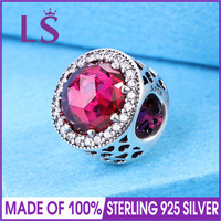 LS High Quality 925 Sterling Silver Cerise Radiant Hearts Charm Fit Original Bracelets Pulseira Encantos 100