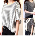 Summer style bat sleeve  black and white stripe  women  t shirt short sleeve loose  tops fashion  chiffon t shirt
