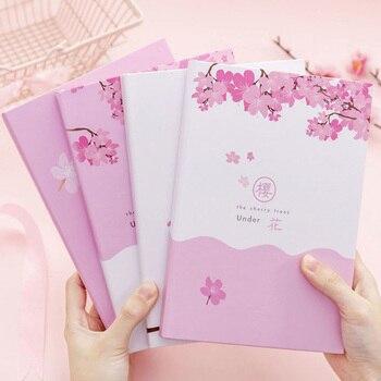 Bloc de notas de flor de cerezo bonito de sueño japonés, cuaderno de bolsillo rosa para chica, pequeño cuaderno de diario para estudiante fresco