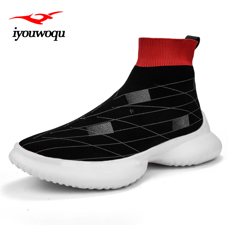 все цены на 2018 Popular outdoor running shoes for men Knitted mesh breathable sports stocking shoes Outdoor sneakers men marathon shoes онлайн