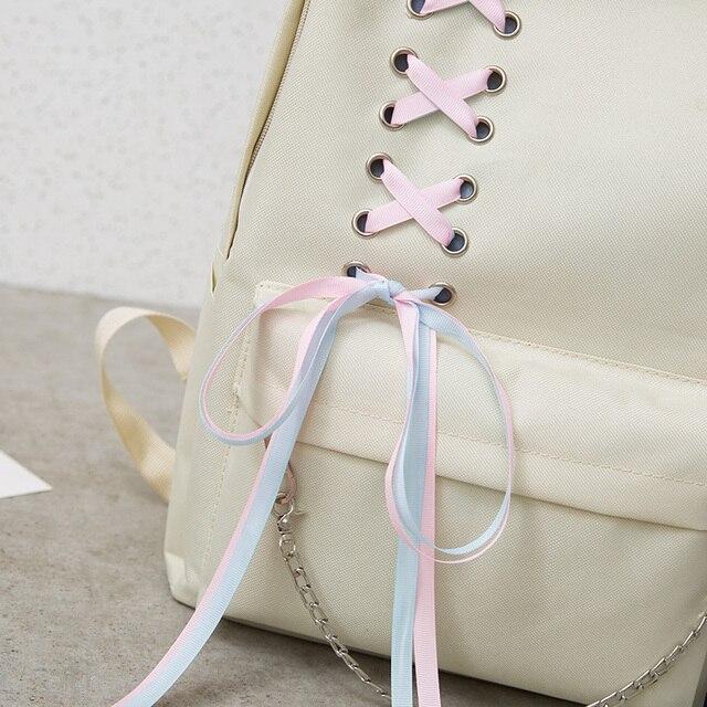 4Pcs/Set Ribbon Chain Bowknot Letter Mochila Canvas Backpack Travel Rucksacks Leisure Backpacks For Teenage Girls School Bagpack 2