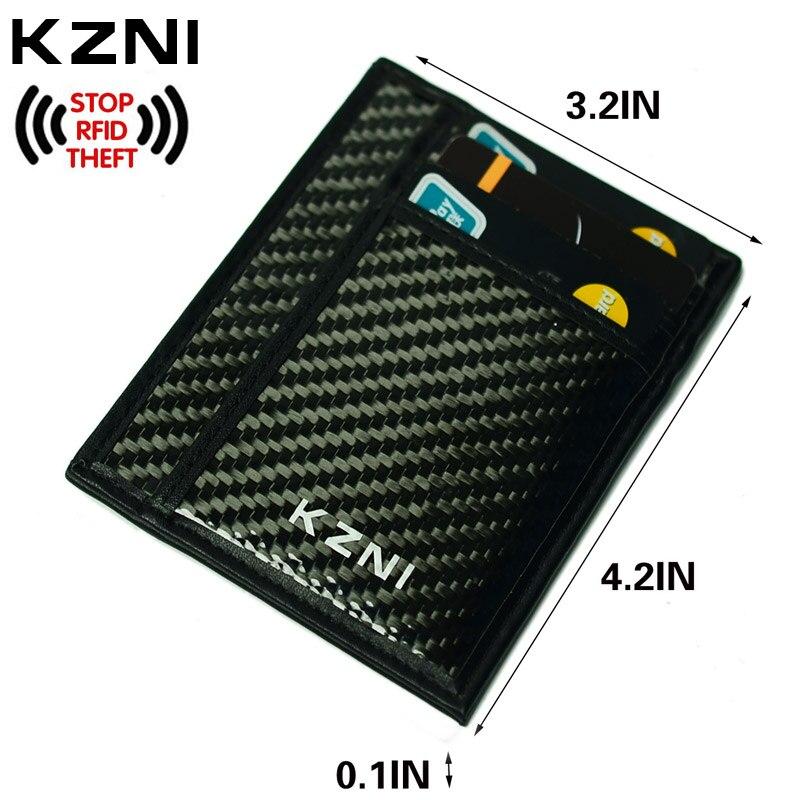 Kzni RFID кожаный бумажник карты для кредитных карт углерода Волокно кошелек с зажимом для денег RFID Блокировка Кошелек сцепления кожаные 004