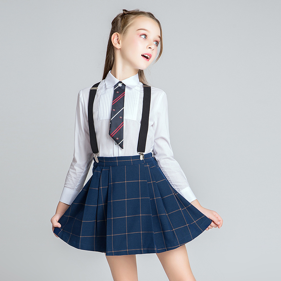 School Girls Uniform Clothes Set White Shirts Mini Vestido Chorus Stage Girls Clothes For 4 6 8 10 12 14 16 Years Old RKS185002