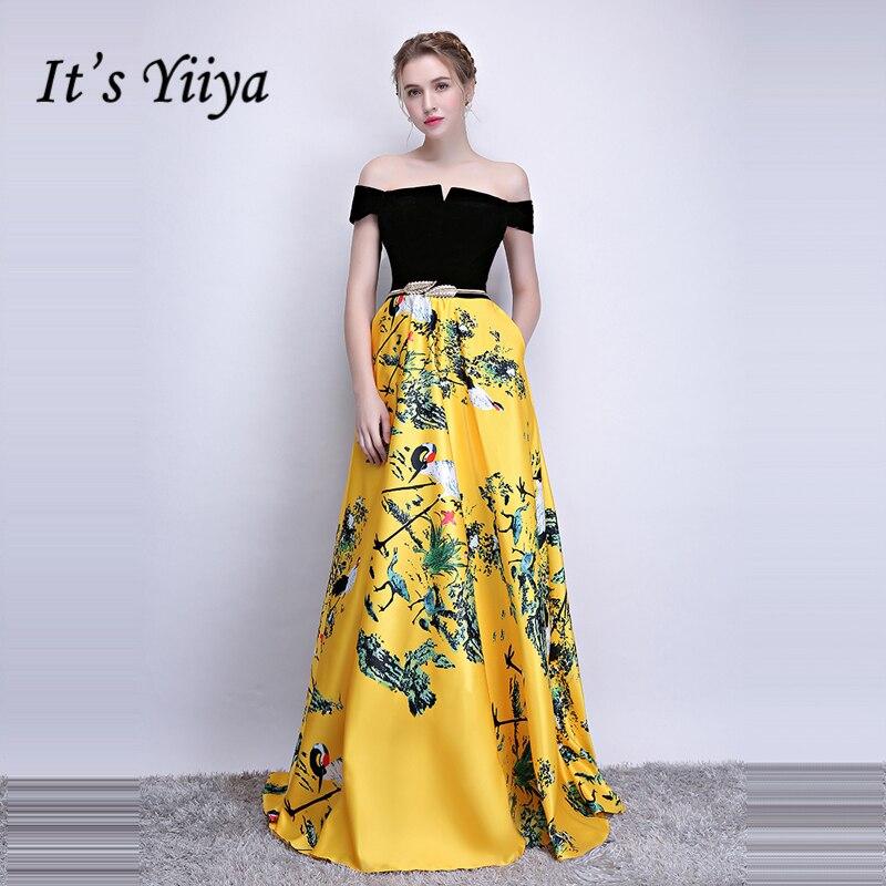 0708782d5 Es Yiiya formales de Noche Vestidos cuello barco sin mangas patrón de flor  piso longitud vestido de elegante vestido Formal LX1098 - a.dupa.me