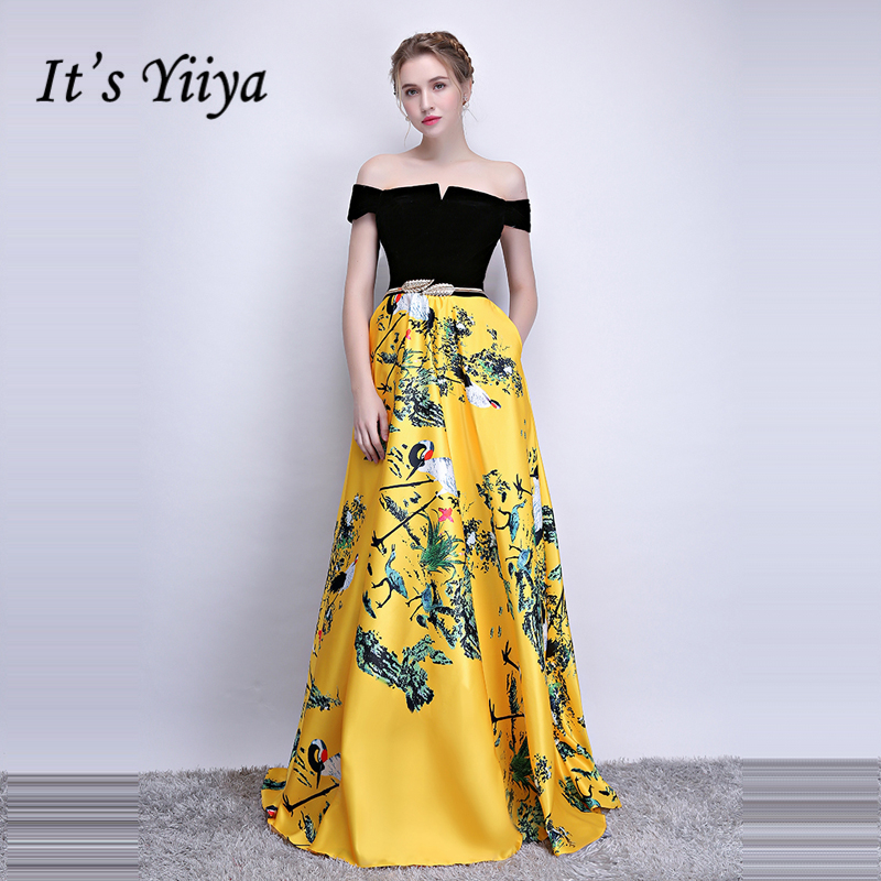 It's Yiiya Formal   Evening     Dresses   Boat Neck Sleeveless Flower Pattern Floor length A-line Elegant Formal   Dress   LX1098