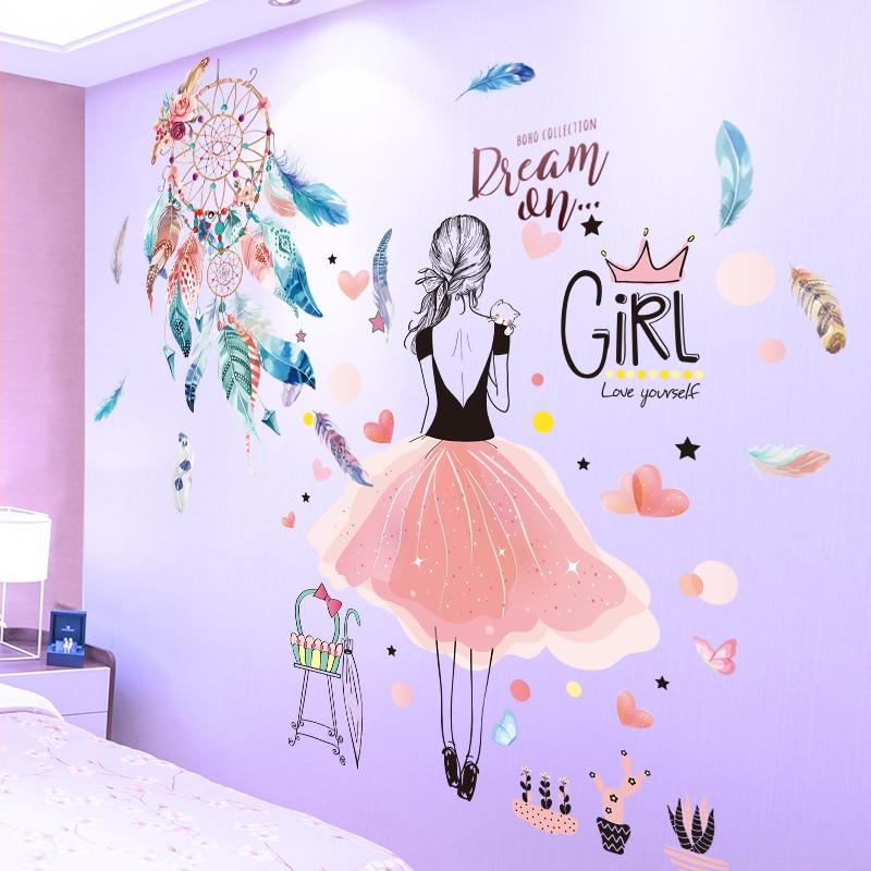 [SHIJUEHEZI] Cartoon Mädchen Wand Aufkleber Vinyl DIY Dreamcatcher Federn Wand Kunst für Kinder Zimmer Baby Schlafzimmer Dekoration