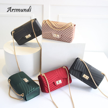 Arsmundi New Handbags Women Frosted Jelly Shoulder Bag Fashion Small V-chain  Messenger Tide Candy Color Female Clutch