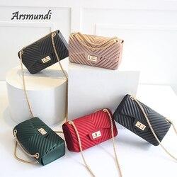 Arsmundi novas bolsas femininas geléia fosco bolsa de ombro moda pequena v-chain mensageiro saco maré doce cor feminina embreagem