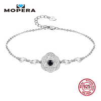 Mopera Bracelet 925 Sterling Silver 6 Colors Natural Balck Sapphire Topaz Garnet Peridot Citrine Amethyst Bracelets