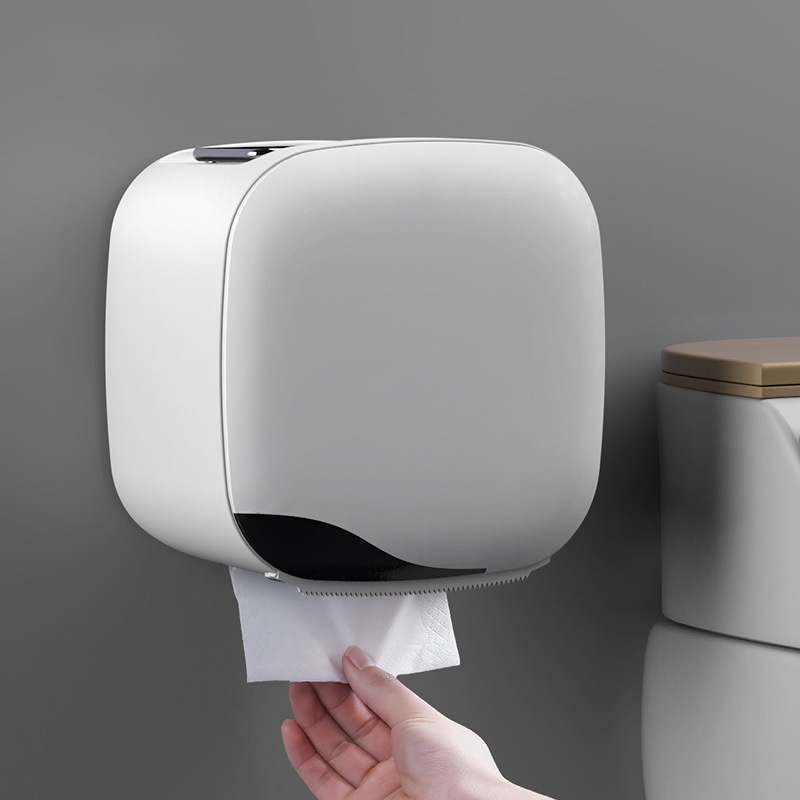Wall Mount Toilet Paper Holder Shelf Tissue Box Waterproof Toilet Paper Tray Roll Paper Tube Bathroom Storage Box Organizer