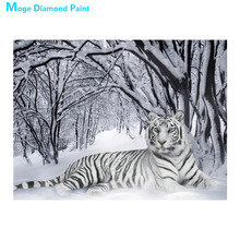 Snow scene White Tiger Diamond Painting scenic animal Round Full Drill 5D Nouveaute DIY Mosaic Embroidery Cross Stitch home