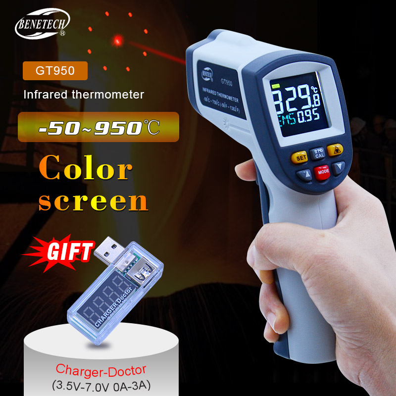 BENETECH Digital Laser thermometer -50~750/950C Non contact laser meter Temperature Pyrometer IR Point Gun Color ScreenBENETECH Digital Laser thermometer -50~750/950C Non contact laser meter Temperature Pyrometer IR Point Gun Color Screen
