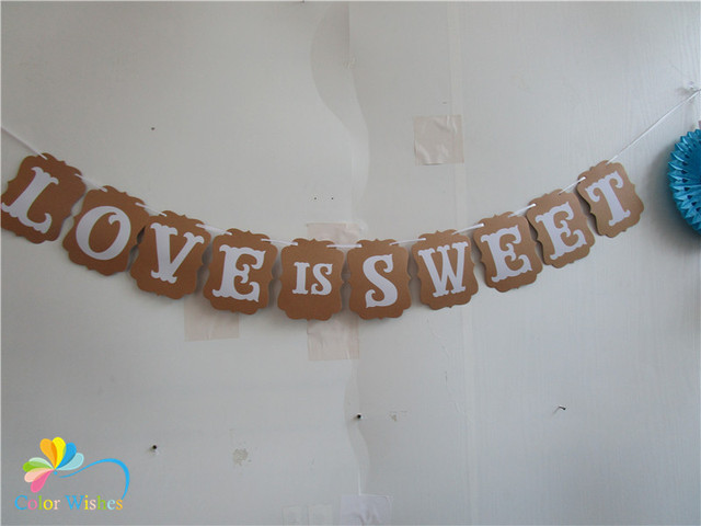 One set 12*16cm kraft paper love is sweet banner bunting garland